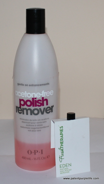 Eden Natural Nail Polish remover and OPI Acetone Free Remover