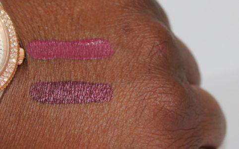 Sephora Lip Creams Dark Berry and Endless Purple Swatch