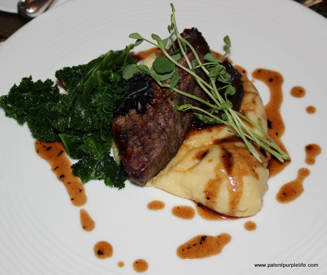 COURSE FIVE (B): Pan Fried Tournedos of Filet Beef and Braised Beef Cheeks Rich Red Wine and Winter Truffle Jus, Curly Kale, Horseradish Mash
