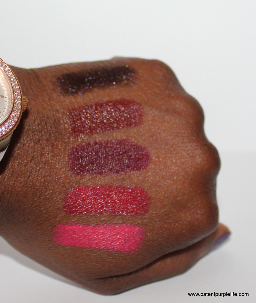Jordana black, brown, eggplant, fiery red and fiesty coral swatches WoC