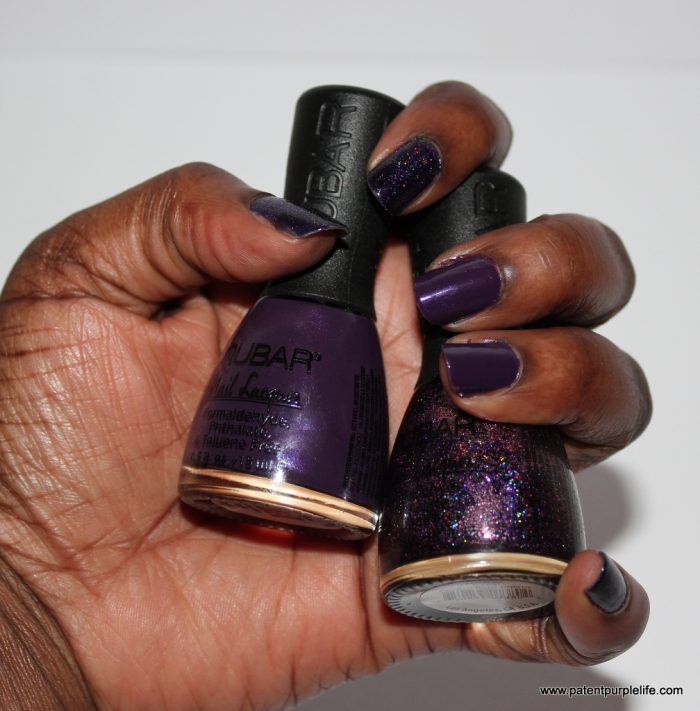 Nubar Nail Varnish Toga Purple and Purple Glitter Rain