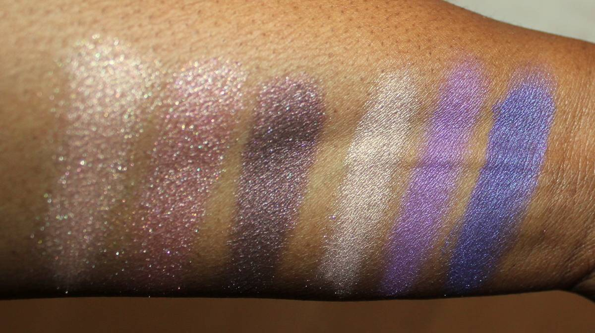 Elizabeth Arden Eyes Wide Shut Touch of Lavender and Forever Plum Palettes Dark Skin Swatches