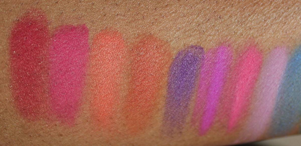 NYX Ultimate Shadow Palette Brights Swatches Dark Skin